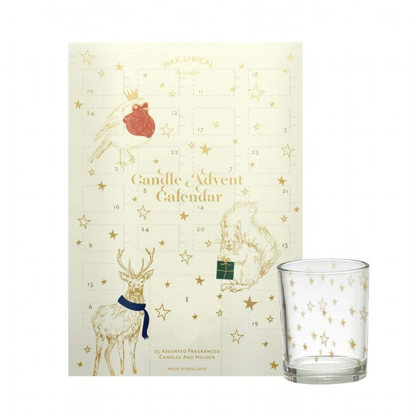 Festive Friends Candle Advent Calendar - Cream Christmas Wax Lyrical Tealight Candles